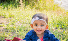 Baby girl 10 month portrait photos at Almaden Lake Park in San Jose by Sarah Delwood Photography