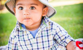 natural light 6 month baby boy portraits in natural light outdoors in san jose with Sarah Delwood Photography